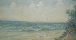 Addison, W.C. A Summer Day, Gulf of Mexico, Florida. Oil on board, 7 and three quarters by 14 inches.