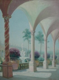 Aked, Aleen , The Ringling Museum Courtyard. Oil on board, 18 by 24 inches.