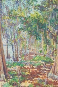 Allen, Anna Elizabeth,  Cypress Trees, St. Johns River, Florida. Oil on board, 24 by 36 inches.