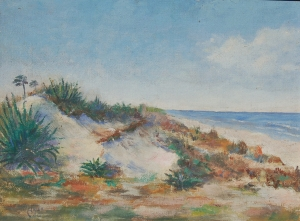 Ames, William, Daytona Beach. Oil on board, 12 by 16 inches. Signed lower left Ames 30 and on back Sand Dunes, Daytona Beach, William Ames, 1930.
