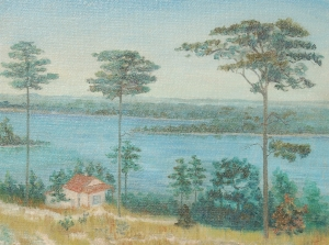 Ball, Nellie, Pensacola. Oil on board, 18 by 24 inches. Signed lower right. On back a Florida Federation of Art 1934 exhibition label which reads indistictly The Lone Pines, Nellie Ball