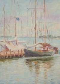 Boozoites, Panos. Florida Boats. Signed P.B. Oil on board, 9 by 12 inches.