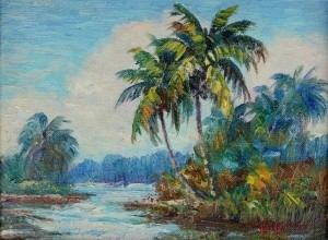 Boozoites, Panos. Four Palms. Miami. Oil on board, 6 by 8 inches.