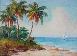 Boozoites, Panos. Miami. Three Palms. Signed P. B.  Oil on board, 6 by 8 inches.
