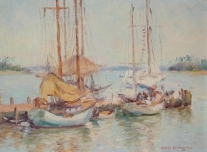 Boozoites, Panos. Sailboats, 1947. Oil on board, 9 by 12 inches.