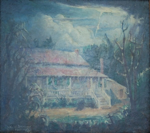Brandien, Carl W. The Poe Cottage, Fordham, New York, 1927. OIl on canvas, 10 onehalf by11 threequarters inch.