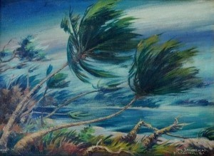 Brandien, Carl. Hurricane at Tarpon Bay, Ft. Lauderdale, September 15, 1945. Oil on board, 11 by 15  inches.