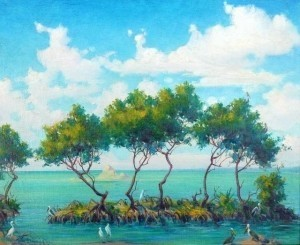 Brandien, Carl. Key Largo, Fla., Mangrove Trees,  1944. Oil on board 14 by 18 inches.