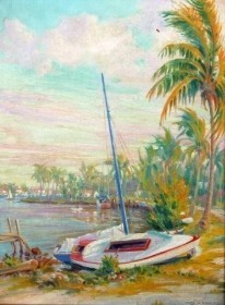 Brandien, Carl. Tarpon Bend, Ft. Lauderdale, 1941. Oil on board, 12 by 16 inches.