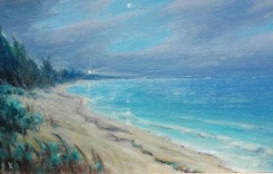 Brandien, Carl. The Hillsboro Light From Pompano Beach, Fla. 1951. To K with love, Carl. Oil on board, 5 by 7 inbches.