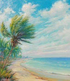 Brandien, Carl. Windy Day Ft. Lauderdale Beach, 1944. Oil on board, 12 by 14 inches.