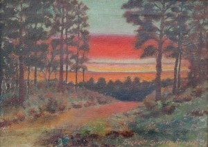 Brown, Everett Currier, Big Tree Road, South Daytona, Fla., Sunrise. Oil on board, 10 by 14 inches. (2)