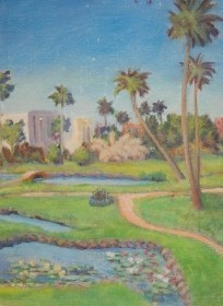 Brown, Everett Currier, Riverfront Park, Daytona Beach, Fla. Oil on board, 6 by 8 inches.