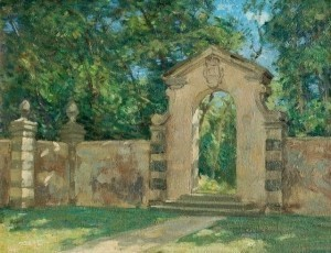 Brown, Horace. The Gate, Viscaya, Coconut Grove, 1943. Oil on board, 12 by 16 inches.
