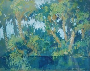 Brown, J. McGibbon. Miami, 1941.  Watercolor, gouche, 7 by 9 inches.