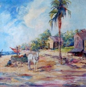 Buchholz, Emaline, Collecting Seaweed, Sarasota. Oil on canvas. 30 by 30 inches.