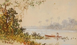 Bullet, Charles. Ft. Myers. Rowboat on Callousahachie  River. Watercolor, 3 by 5 inches.