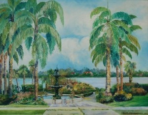 Carpenter, Rena Littell. Orlando. The Fountain, Eola Park, Orlando, Florida. 1954. Oil on board, 22 by 28 inches.