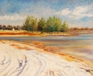 Carpenter, Rene Littell. Orlando. Around the Bend From the Yacht Club Basin, Gulfport, 1959. Oil on board, 18 by 24 inches.