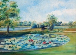 Carpenter, Rene Littell. Orlando. The Lilly Pond, Lake Eola, 1955. Oil on board, 18 by 24 inches.