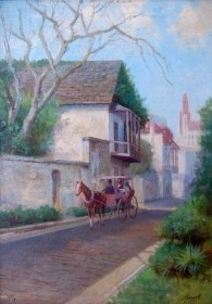 Cassanelli. Victor.  Avile St., St. Augustine. Oil on board, 10 one half by 14 one half inches.
