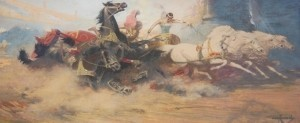 Cassidy, Asa. Mixed Media, 9 three quarters bny 22 three quarters inches. Ben Hur, Exhibited Sarasota 1927. Done for advertising campaign for film Ben Hur.