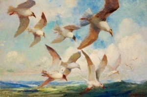 Cassidy, Asa. Sarasota, Tampa. Seagulls. Oil on canvas, 20 by 30 inches.
