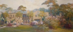 Cassidy, Asa. Sarasota. Crosley Mansion, 1935. Oil on canvas, 17 one half by 39 and one half inches.