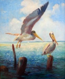 Cassidy, Asa. That Wonderful Bird The Pelican. Oil on canvas, 20 byh 25 and one quarter inches.
