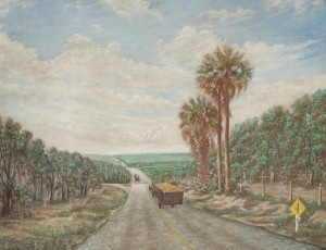 Citrus Road, circa 1935. Unsigned oil on board, 28 by 36 inches.