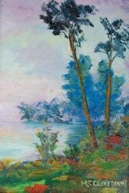 Clinedinst, May Spear. St. Petersburg.  Florida Shore. Oil on board, 5 by 7 inches.