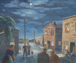 Coconut Grove, Miami. Oil on board, 20 by 24 inches. Night Life in Shanty Town.
