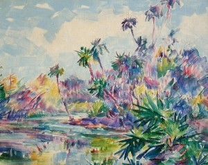 Coe, Theodore. Anclotte River. Oil on canvas, 16 by 20 inches,