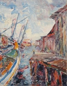 Coe, Theodore. Tampa. Oil on canvas, 18 by 23 inches. The Boneyard, Tarpon Springs.