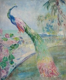 Coe, Theodore. Tampa. Oil on canvas, 25 by 30 inches. Evening Florida Coast. Exibited Society of the Four Arts, Palm Beach, March-April 1942.