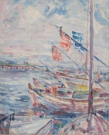 Coe, Theodore. Tampa. Tarpon Springs, Windy Day. Oil on canvas, 16 by 20 inches.