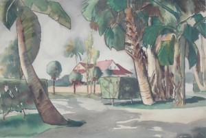 Conn, Russell. Palm Beach, 1951. Watercolor, 14 one half by 21 one half inches.