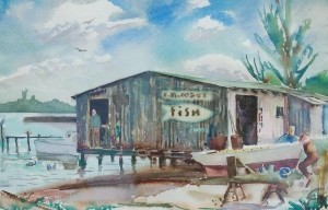 Conn, Russell. Palm Beach. Watercolor, 15 by 23 inches.