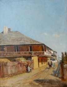 DROWN, W. STAPLES. Old Spanish House, St. George St. St. Augustine, Fla.  1890. Oil on canvas, 14 by 18 inches.