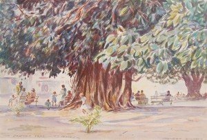 Dennis, Morgan. Ft. Myers, The Banyan Tree. Watercolor, 12 three quarters by 19 inches.