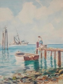 Dennis, Morgan. Key West Afternoon, 1956. Watercolor, 12 by 16 inches.