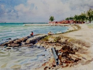 Dennis, Morgan. West Martello Tower, Key West, 1956. Watercolor, 12 by 16 inches.