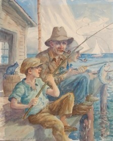 Dodd, Mark Dixon. St. Petersburg. Pier Fishing. Watercolor, 14 and one half by 17 three quarters inches.