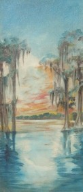Dunkin, Alcie Barton. St.Cloud. Sunset on a Florida Lake. Oil on board, 13 by 28 three quarters inches.