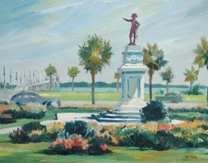 Etter, Harold. Sleichter. Anderson Circle, St. Augustine. Oil on board, 15 and five eights by 19 and three quarters inches.