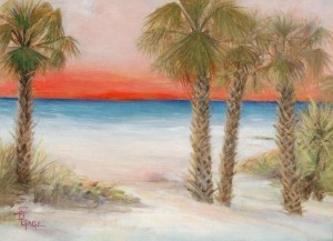 Gage, Susan B. Glow on the Gulf. Oil on board, 18 by 24 inches. Exhibited Clearwater Annual, 1950.