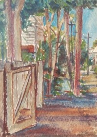 Greene, William. Key West Street. Watercolor, 4 by 5 one half inches.