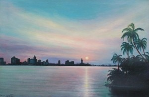 Griffith, Lorenz. Orlando. Florida Sunset, Biscayne Bay. Oil on canvas, 24 by 36 inches.