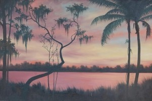 Griffith, Lorenz. Orlando. Sunset Indian River, Florida. Oil on board, 24 by 36 inches.