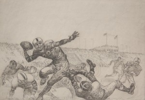 Hagerman, Kent. Bowl Action. Etching, 6 one half by 9 one half inches.